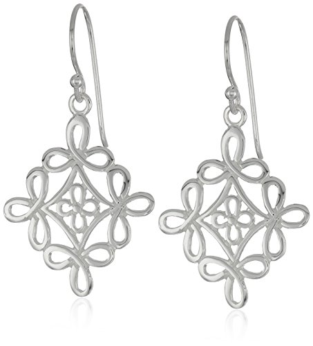 Sterling Silver Diamond Shaped Filigree Drop Earrings (Diamond Silver Drop Filigree Sterling)