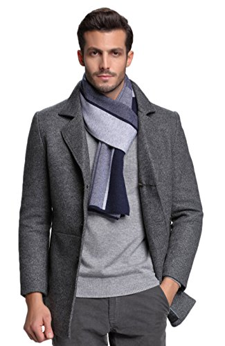 Powder Blue Wool (RIONA Men's 100% Australian Merino Wool Scarf Knitted Soft Warm Neckwear with Gift Box (Blue))