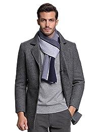 RIONA Men's 100% Australian Merino Wool Scarf Knitted Soft Warm Neckwear with Gift Box (Blue)