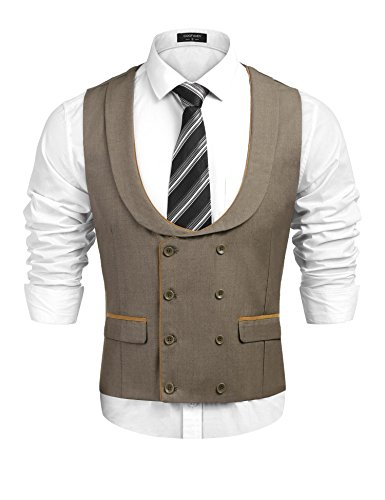 Double Breasted Tuxedo Mens (COOFANDY Men's Business Suit Vests Double Breasted Tuxedo Vest Waistcoat, Khaki, Large)
