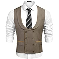 COOFANDY Men's Business Suit Dress Slim Fit Double Breasted Wedding Waistcoat Button Down Vests