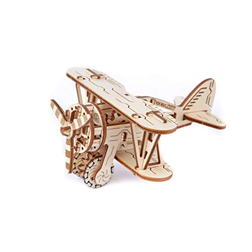 WOODEN.CITY Biplane - Mechanical 3D Wooden Model Kit, Airplane Toy, Model Plane, an Awesome Gift, Inspired by Ugears