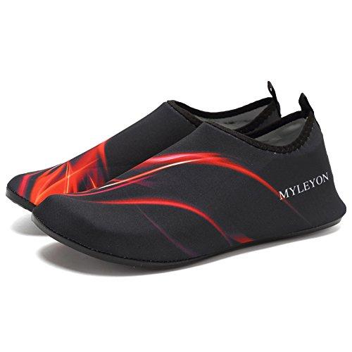 EQUICK Damen Wasserschuhe Quick-Dry Verschnaufpause Sport Skin Schuhe Barfuß Rutschfeste Multifunktionssocken Yoga Übung F.red