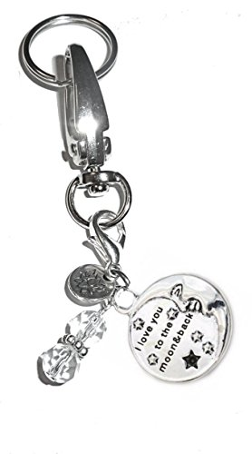 Hidden Hollow Beads Charm Key Chain Ring, Women's Purse or Necklace Charm, Comes in a Gift Box! (I Love you to the moon and back) - Hollow Bead Chain