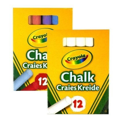 Crayola 1x White and 1x Colour Anti Dust Chalk Anti Dust White Chalk