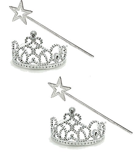 Princess Dress Up Set - 2 Pk. Tiara & Wands - Princess Costume Accessories by Funny Party Hats - Funny Pair Costumes For Friends