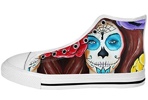 Toile Femmes Haut Haut Chaussures Jour De La Mort Design Dayofdead Shoes08