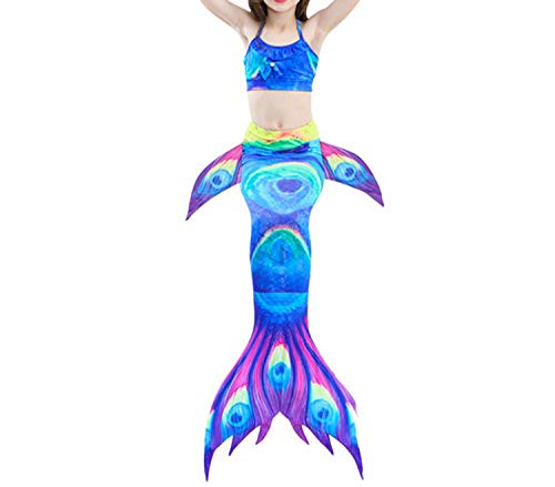 3Pcs/Set Mermaid Tail Swimsuit Swimwear Bathing Suit CCostume Bikini Set,Style 3,8T Tail Costume -