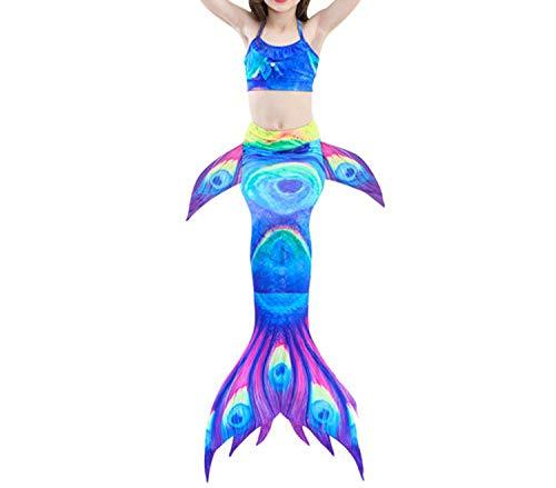 3Pcs/Set Mermaid Tail Swimsuit Swimwear Bathing Suit CCostume Bikini Set,Style 3,8T Tail Costume -