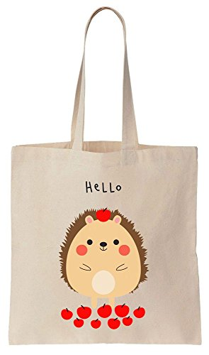 Canvas With Hedgehog Cotton Super Tasty Hello Bag Apples Cute Tote vq4Unw0