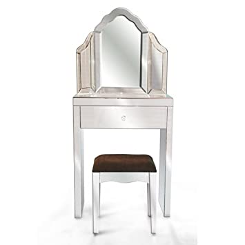 COMPLETE SMALL VENETIAN MIRRORED GLASS DRESSING TABLE SET WITH