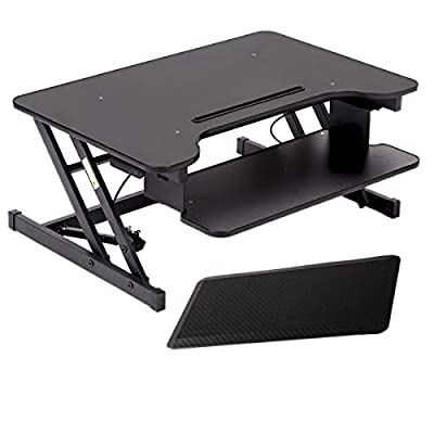 "32"" Platform Height Adjustable Standing Desk Riser Removable Keyboard Tray with mat"