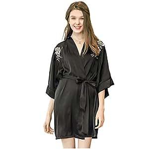 HONGNA Peony Bordado Sexy Camisón Mujer Verano Pasarela Pijamas De Seda Kimono Japonés Albornoz (Color : Negro, Tamaño : One Size): Amazon.es: Hogar