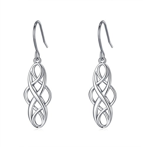 925 Silver Earrings Solid Sterling Silver Good Luck Irish Celtic Knot Vintage Dangles
