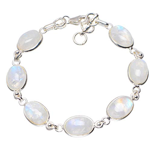 Natural Rainbow Moonstone Handmade Unique 925 Sterling Silver Bracelet 6.75-7.5