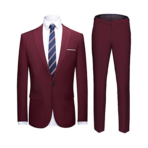 YIMANIE Men's Suit Slim Fit One Button 2 Piece Suit Tuxedo Business Wedding Party Casual Wine Red -