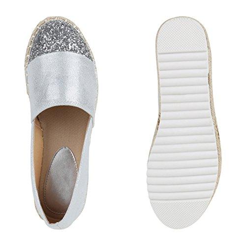 37 Slipper 141510 Flandell Rafia Donna Espadrillas Argento Glitterato Stiefelparadies Aq05gx