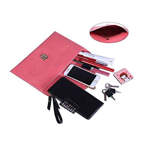 Amaze Fashion Women Handbag Shoulder Bags Envelope Clutch Crossbody Satchel Purse Tote Messenger Leather Lady Bag (Coral) by Amaze (Image #2)