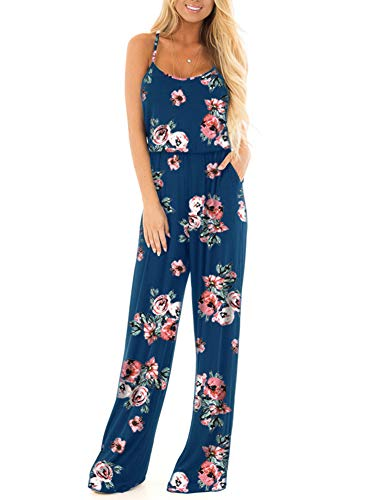 Floral Printed Jumpsuit Women Summer Boho Casual Loose Spaghetti Strap Sleeveless Open Back Wide Leg Long Pants Romper Jumpsuits Blue Small]()