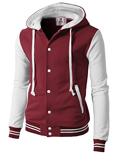 (H2H Mens Slim Fit Varsity Two Tone Hooded Zip-Up Sweatshirt Jacket WINEWHITE US M/Asia L (CMOJA099))