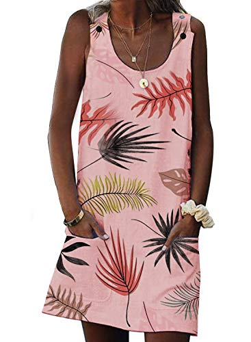 Asvivid Womens Casual Leaf Printed Crew Neck Sleeveless Summer Ladies Button Cami Mini Dress Sundress S Pink -