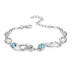 """KesaPlan Flower Shape Swarovski Crystal Bracelet for Women Platinum-Plated Blue&White Crystal Chain Bracelet 7""""+2…"""
