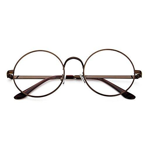 TININNA Unisexe Rétro Rondes Metalique Cadre Frame Lunettes Vintage Verres Transparent Style Aviateur Pilote Eyeglasses pour Homme et Femme Adultes Gris D2PZhQPV