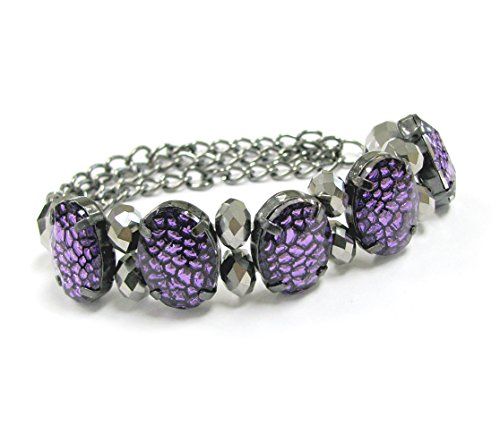 Linpeng Lavender Acrylic Gem Slider Silver Crystal and Chain Stretch Statement Bracelet in Bag