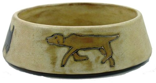 MARA STONEWARE COLLECTION – 16 Oz. Pet Feeding Or Water Dish Brown Bowl – Abstract Puppy Dog Design