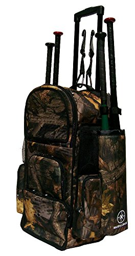 New Design Vista CTR in Tree Camouflage Softball Baseball Bat Equipment Roller Backpack with Innovative Removable Bat Sleeves, Embroidery Patch and Pull out Handle by MAXOPS