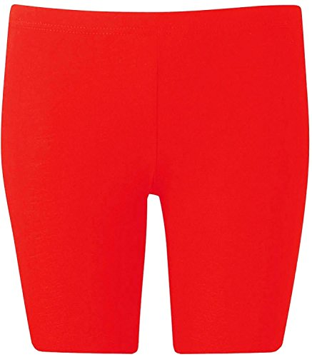 New Womens Plus Size Over Knee Plain Jersey Cycling Shorts ( Red, 1X )