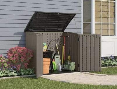Portable Shed-Garbage Shed- Stoney Gray Resin 34 Cu Ft Storage Capacity - Outdoor Storage Space For Storing Your Important Belongings (7 Ft X 4-5 Ft Storage Shed)