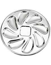 Yardwe Stainless Steel Oyster Pan Oyster Shell Shaped Oyster Plate for Oysters Lemons and Sauce Seafood Serving Plate Silver