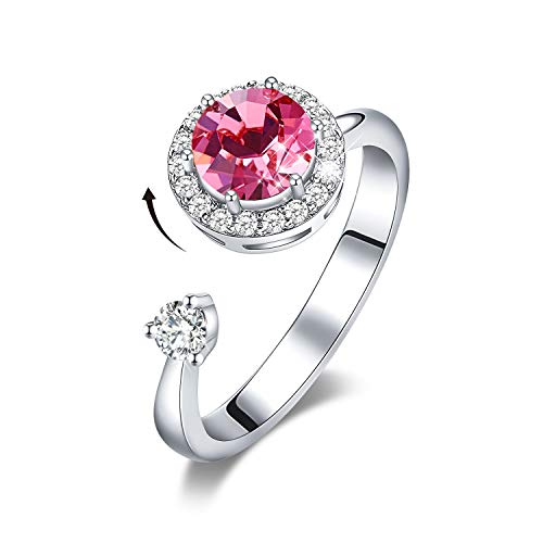 CDE Rotating Birthstone Rings for Girls Womens Birthday Christmas Jewelry Gifts for Women Embellished with Crystals from Austria Ring 18K Rose Gold/White Plated Adjustable Size 7-9 for Girlfriend Wife
