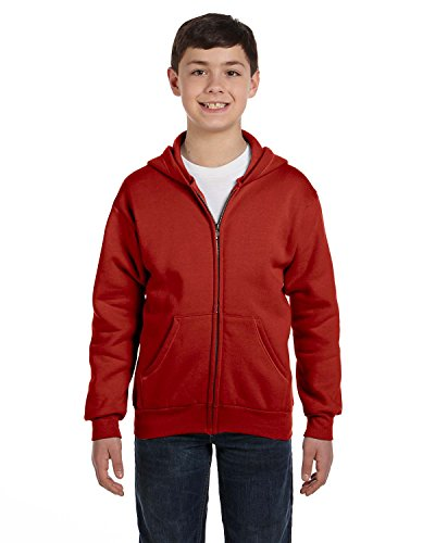 - Hanes Comfortblend EcoSmart Full-Zip Kids' Hoodie Sweatshirt, Deep Red, Medium