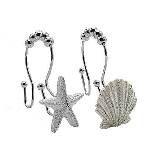 Maoface girl Shower Window Curtain Double Hooks,Stainless Steel Rustproof Stars Roller Balls Shell Starfish Conch Hooks 12-Pack. (White Starfish & Seashell) by Maoface girl
