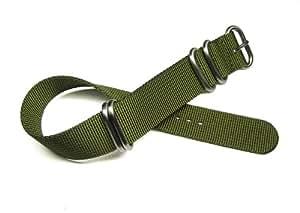 20mm Zulu 4 Ring Military Green Nylon Watch Band Strap