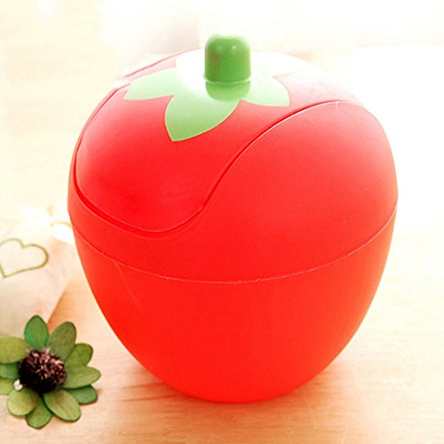Strawberry Mini Push Trash Can Bedroom Bathroom Waste Basket Interior Welcome (Red)