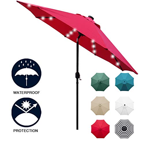 Sunnyglade 9' Solar 24 LED Lighted Patio Umbrella with 8 Ribs/ Tilt Adjustment and Crank Lift System (Red) (Sunbrella Furniture Commercial Patio)