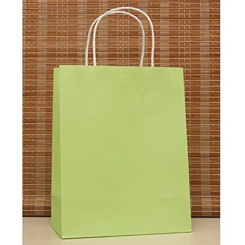 Wall of Dragon 10pcs/lot Light Green Paper Bag 27x21x11cm Recyclable Gift Boutique Jewelry Packaging Kraft Paper Gift Bags with Handle for $<!--$43.53-->