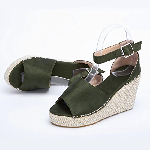 HLHN Women Sandals, Fish Mouth Dull Polish Sewing Ankle Buckle Strap Platform Wedge High Heel Peep-Toe Slope Shoes Casual Lady Green