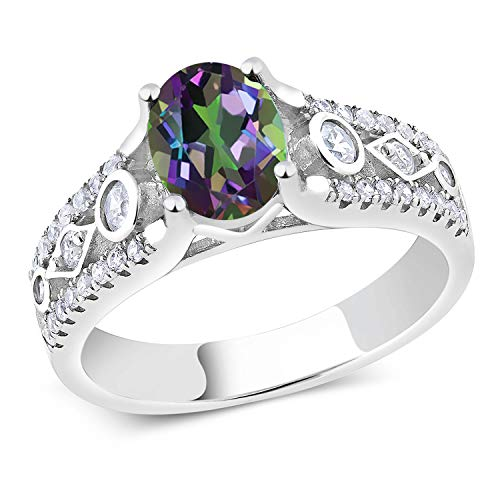 Gem Stone King 925 Sterling Silver Green Mystic Topaz Women's Engagement Ring 1.86 Ctw (Size 7)