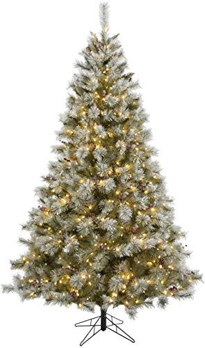 Fraser Hill Farm 6.5-Ft Prelit Homestead Pine Frosted Christmas Tree with EZ Connect Warm White LED Lights, Pinecones, and Berries, Green (Tree Farm Berry Christmas)
