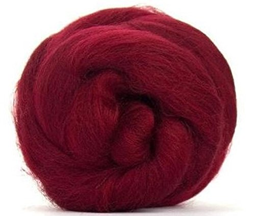 4 oz Paradise Fibers 64 Count Dyed Ruby (Red) Merino Top Spinning Fiber Luxuriously Soft Wool Top Roving for Spinning with Spindle or Wheel, Felting, Blending and Weaving