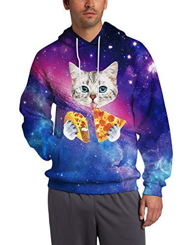 Mens Fleece Hoooded Sweatshirt 3D Digital Print Pizza Cat Cool Novelty Warm Cowl Neck Long Sleeve Women's Blue Red Space Galaxy Pullover Sweater Big Kanga Pockets Realistic Food Crazy Teen ()