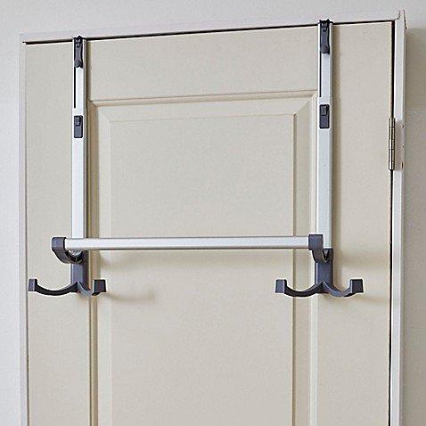 BathSense Over-the-Door Adjustable Telescopic Towel Rack in Aluminum
