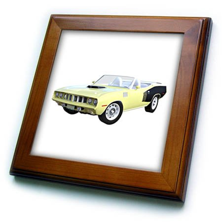 - 3dRose Boehm Graphics Car - 1971 Convertible Muscle Car Yellow - 8x8 Framed Tile (ft_274617_1)