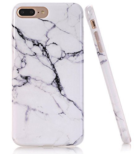 iPhone 7 Plus Case, White Black Marble Creative Design, BAISRKE Slim Flexible Soft Silicone Bumper Shockproof Gel TPU Rubber Glossy Skin Cover Case for iPhone 7 Plus & iPhone 8 Plus