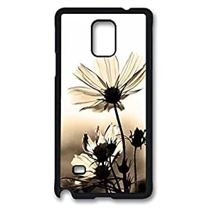 Classic Flower Custom Back Phone Case for Samsung Galaxy Note 4 PC Material Black -1210050