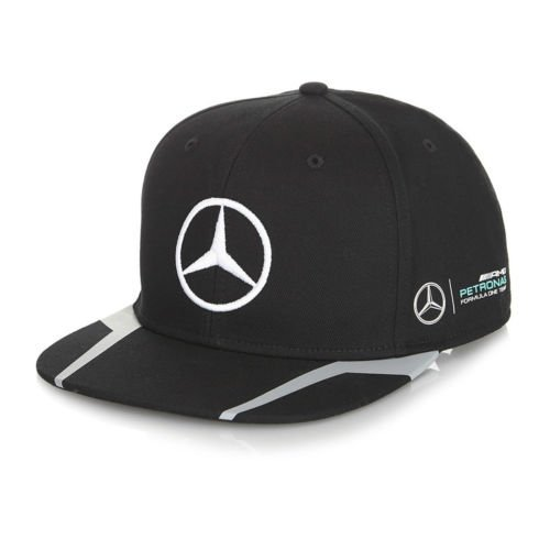 Mercedes Benz Petronas AMG Formula 1 Lewis Hamilton Black Flat Brim Hat - Mercedes Benz Amg